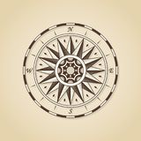 Vintage old antique nautical compass rose.  Royalty Free Stock Image