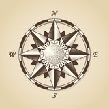 Vintage old antique nautical compass rose. Vector sign label emb Royalty Free Stock Images