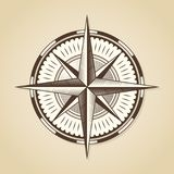 Vintage old antique nautical compass rose.  Stock Photo