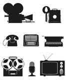 Vintage and old art equipment silhouette video photo phone recor Royalty Free Stock Images