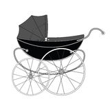 Vintage old authentic vintage stroller Stock Photos