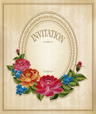 vintage old background with roses Royalty Free Stock Photos