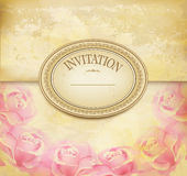 Vintage old background with roses on a faded paper Royalty Free Stock Image