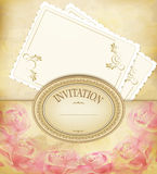 Vintage old background with roses, faded paper Stock Photo