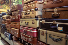 Vintage old battered leather suitcases Stock Photography