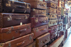 Vintage old battered leather suitcases Royalty Free Stock Images