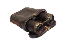Vintage old binoculars with a holster Stock Photos