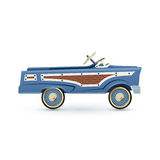 Vintage, old blue toy pedal car. Stock Images