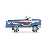 Vintage, old blue toy pedal car. Stock Images
