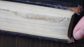 Vintage old book with antique pages turning. Turning the pages of an old book close-up, reading or education concept stock video