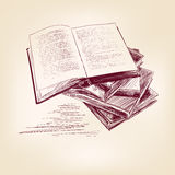 Vintage old  books hand drawn Stock Photography
