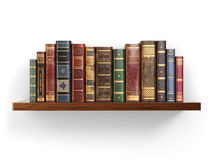 Vintage old books on shelf isolated on white. Royalty Free Stock Image