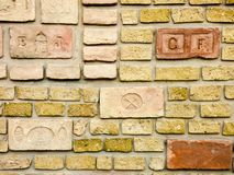 Old red  yellow brick wall background texture Stock Image