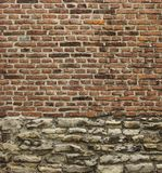 Vintage old brick and worn stone wall Royalty Free Stock Images