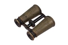 Vintage old  bronze binoculars Stock Images