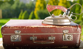Vintage old brown suitcase Royalty Free Stock Images