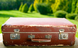 Vintage old brown suitcase Stock Photography
