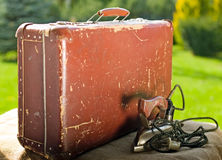 Vintage old brown suitcase Stock Photos