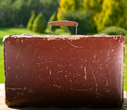 Vintage old brown suitcase Stock Images