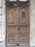 Vintage old brown wood door with patterns Royalty Free Stock Photography