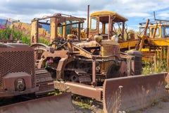 Vintage old bulldozers Royalty Free Stock Photo