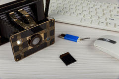 vintage Old camera, flash card mouse pad, sd card Stock Photo