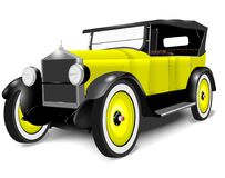 1920 Vintage old Car. 1920 Vintage car. Classic coupe with yellow paint work and white walled tyres Royalty Free Stock Images