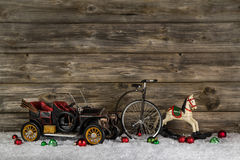 Vintage: old children toys for a christmas decoration - car, hor Stock Image