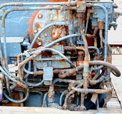Vintage Old Diesel Engine on a Ship Stock Photography