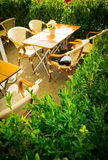 Vintage old fashioned cafe chairs with table in Copenhagen Stock Photo