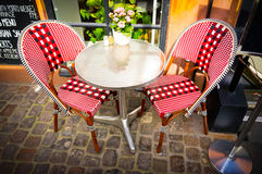 Vintage old fashioned cafe chairs with table in Copenhagen, Denm Royalty Free Stock Photography