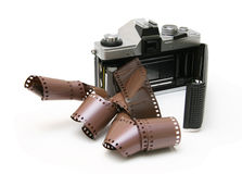 Free Vintage Old Film Camera With Film Strip Royalty Free Stock Images - 7447629