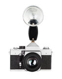 Vintage old film photo-camera Stock Photos