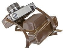 Vintage old film photo-camera in leather case Royalty Free Stock Photography