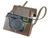 Vintage old film photo-camera in leather case. On white background Royalty Free Stock Photography