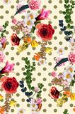 Vintage old flower with polka dot backgrounds - vintage effect s. Tyle pictures. You can use it for textile or more Royalty Free Stock Photos