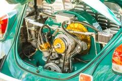Vintage old green  car engine Stock Image