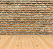 Vintage old grunge brick wall pine wood floor room architecture Stock Images
