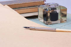 Vintage old ink pen, handwrite letters Stock Photo
