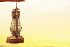 Vintage old kerosene lamp outdoors taken closeup. Stock Photography