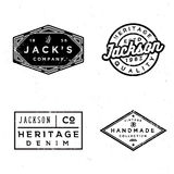 Vintage old labels design set. Prints for t-shirt. Or apparel. Retro badges for fashion and clothing. Old school graphics for t-shirt, apparel, denim, sewing Stock Photography