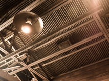 Vintage old latern lamp in barn Royalty Free Stock Photo