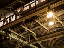 Vintage old latern lamp in barn Stock Photography