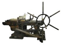 Vintage old letterpress printing manual machine isolated on whit stock image