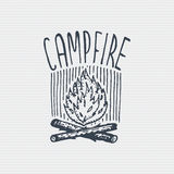 Vintage old logo or badge, label engraved and old hand drawn style with campfire.  royalty free illustration