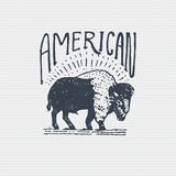 Vintage old logo or badge, label engraved and old hand drawn style with wild american buffalo bull Royalty Free Stock Photography