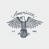Vintage old logo or badge, label engraved and old hand drawn style with wild bald eagle Royalty Free Stock Photos