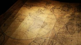 Vintage Old Map. Close up of a vintage old map stock footage