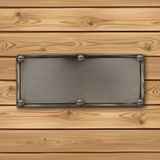 Vintage, old metal banner on realistic wooden Stock Photos