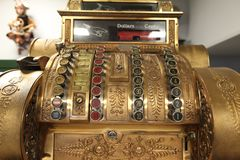 Vintage old metal the cash register close-up.  Royalty Free Stock Images